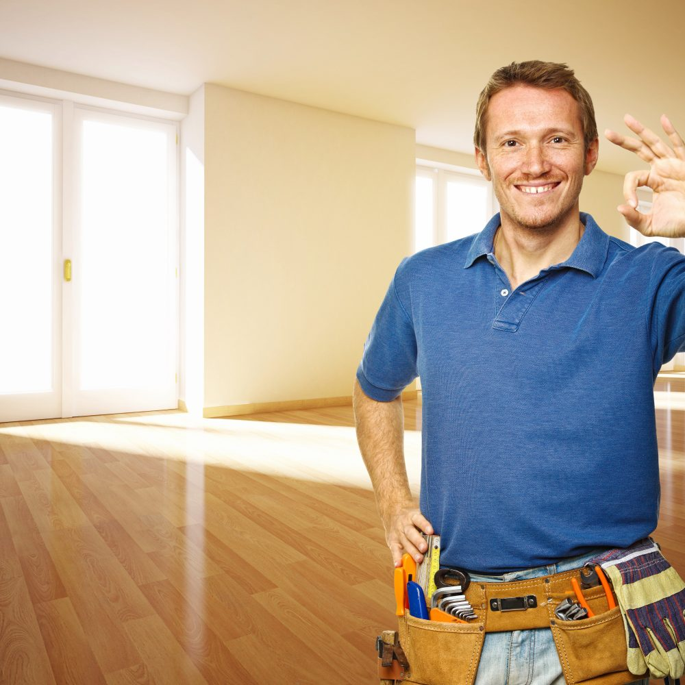 smiling man and 3d indoor house